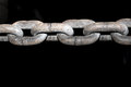 Old grunge chains link isolated on black background,relationship