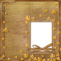 Old grunge frame with autumn leaves Royalty Free Stock Photography