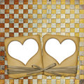 Old grunge paper frame with heart Royalty Free Stock Photo