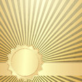 Old grunge paper with gold rays and line vector eps Stock Images