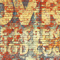 Old grunge wall an red brick with painted letters Stock Photos