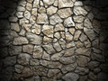 Old grunge wall of rough stones as background light effect image Stock Photos