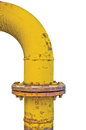 Old grunge yellow gas pipe flange isolated Royalty Free Stock Photo