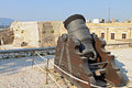 Old gun at corfu island in greece the castle of Royalty Free Stock Image