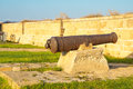 Old guns on acre walls the city wall of israel Royalty Free Stock Photography