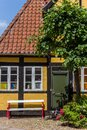 Old half timbered house with bench in Ribe Royalty Free Stock Photo