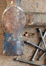 Old hammer and nails Royalty Free Stock Photography