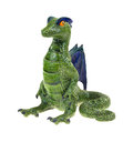Old hand made ceramic dragon an sitting upright on a white background Royalty Free Stock Photo