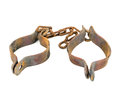 Old handcuffs rusty isolated on white Stock Photo