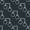 Old handcuffs seamless pattern guilt jail legal crime law arrest chain prison control handcuff background vector