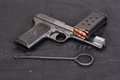 Old handgun on black background Stock Photography