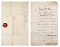 Old handwritten letter. Antique paper sheet with red wax seal Royalty Free Stock Photo