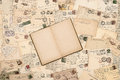 Old handwritten postcards open book Royalty Free Stock Photo