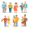 Old happy family. Pensioner happy family. Cartoon characters happy pensioner family.