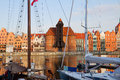 Old harbour of gdansk with zuraw oldest crane poland Royalty Free Stock Images