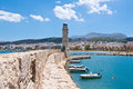 The old harbour with the lighthouse. Rethymno city, The Crete island,Greece. Royalty Free Stock Photo