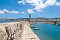 The old harbour with the lighthouse. Rethymno city,Crete island,Greece. Royalty Free Stock Photo