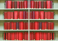 Old hardcover books on shelf Stock Images