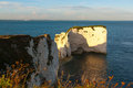 Old harry rocks dorset evening light at england uk europe Stock Photography