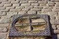 Old hatch in pavement germany kenigsberg kaliningrad Stock Photos