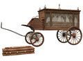 Old hearse and coffin d render of wooden Royalty Free Stock Photo