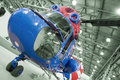Old helicopter in a hangar Royalty Free Stock Images
