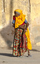 Old Hindu Woman in India, Colorful Clothes, Clothing