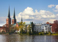 Old historic town of lubeck germany trave river Royalty Free Stock Photo