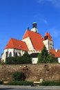 Old historic town prachatice chuch the church and wals in the czech republic Stock Image