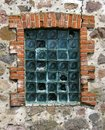 Old stone wall with red bricks framed transparent crached blocks Royalty Free Stock Photo