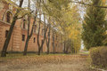 Old historical militay buildings in latvia authumn time yeallow leafs on the ground makes some colors abandoned place Royalty Free Stock Photo