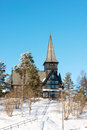 Old holmenkollen chapel on sunny winter day Stock Image
