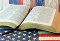 Old Holy Bible and the American Flag Royalty Free Stock Photo