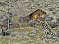 Old homestead abandoned nevada mining town Stock Photo