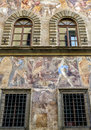 Old house, decorated with frescoes, in Florence Royalty Free Stock Photo