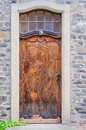 Old house door antique heavy made of wood Royalty Free Stock Image