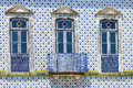 Old house facade with portuguese typical hand painted tiles Royalty Free Stock Photography