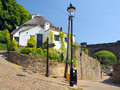 Old house and lantern in Knaresborough, England Royalty Free Stock Photography