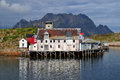 Old house in norway landscape the lofoten islands world s most beautiful archipelagos Royalty Free Stock Images