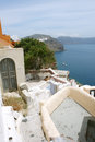 Old house and sea with yachts on santorini greek landscape island Royalty Free Stock Photos
