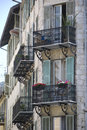 Old house with small french balconies, France Royalty Free Stock Photo