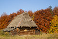 Old house with a thatched roof in autumn Royalty Free Stock Images