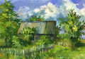 Old house village oil painting sketch Stock Images