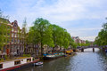 Old houses canal ring amsterdam netherlands Royalty Free Stock Images