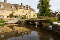Old houses in cotswold district of england lower slaughter with river or cotswolds southern the autumn Royalty Free Stock Photos