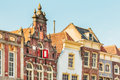 Old houses in the Dutch city of Gouda Royalty Free Stock Photo