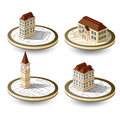Old houses isometric on a round base Stock Image
