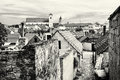 Old houses, streets and churches in Skalica town, Slovakia, blac Royalty Free Stock Photo