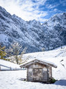 Old hut eng alm karwendel mountains Stock Images
