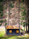 Old hut log cabin at the european alps beehive Stock Photos